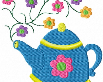 Flowering Teapot -A Colorful Machine Embroidery Design for the Kitchen