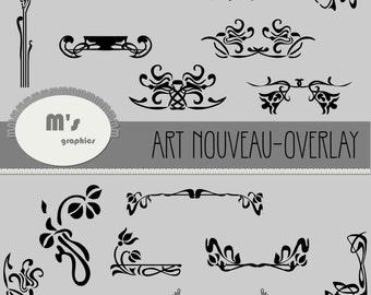 Art Nouveau Clip Art Borders, Corners, Headers, Accents, Décorations