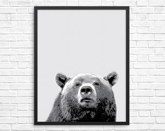 Woodland Nursery, Bear Print, Bear Art, Instant Download, Printable Art, Animal Print, Animal Art Print, Black and White Art