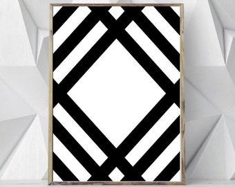 Black Geometric Wall Print, Black Geometric Print Art, Black White Art, Black Minimalist Print Art, Black Minimalist Wall Print, Modern Art