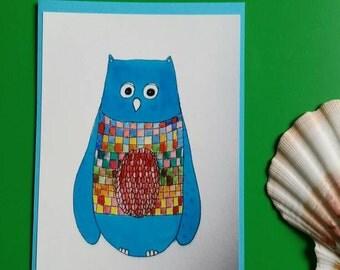 Postcard with owl illustration