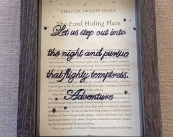 """Harry Potter framed Dumbledore quote """"Let us step out into the night and pursue that flighty temptress Adventure"""",Potter book art, gift"""
