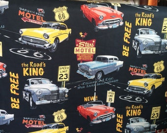 """Route 66 Stars Motel Classic Cars Vilber Black cotton print 56"""" Fabric by the yard"""