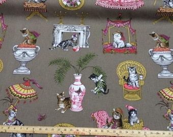 Royal Cats (fabulous cats) fabric Tan fabric draperies /upholstery / projects Multipurpose