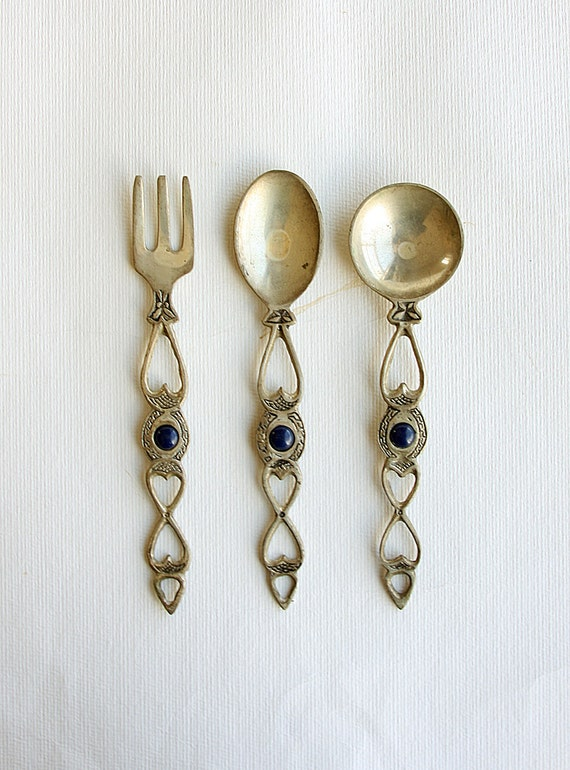 Vintage brass spoon and fork set wall hangings Brass home decoration Rustic Set of Kitchen Utensils wall decor