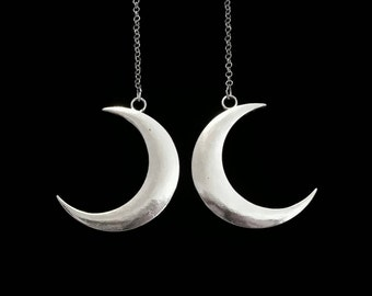 crescent moon earrings, UNDER a FUNERAL MOON, gothic earrings, occult jewelry, crescent moon, death metal, wiccan symbols, goth style, moon