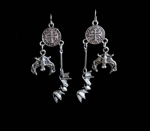 RELEASE the BATS, bat earrings,  gothic jewelry, the birthday party,  nick cave, vampire bat, goth style, rosary, pastel goth, wiccan, pagan