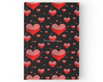 Hard Cover Journal, Red Hearts Book