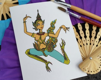 Thai Kinnaree Princess Angel greeting card