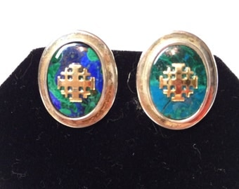 Exquisite Estate Sterling Silver Jerusalem cross with Azurite Eilat stone earrings.