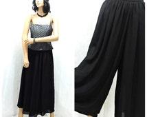 90s high waisted sheer black palazzo pants M 1990s wide leg black poly chiffon pants size 7 /10 SunnyBohoVintage
