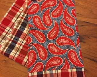 100% Cotton Embellished Tea Towel: Bandana and Plaid