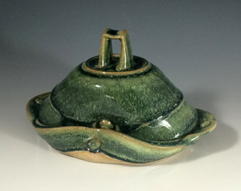 Green Handmade Ceramic Butter Dish