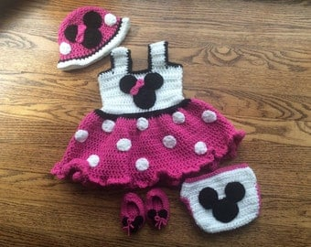 Minnie Mouse Outfit, Newborn Minnie Mouse Outfit, Crochet Minnie Mouse Outfit, Baby Minnie Mouse Outfit, Minnie Mouse