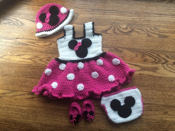 Crochet Pattern For Baby Mermaid Costume : Items similar to Minnie Mouse Outfit, Newborn Minnie Mouse ...