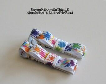 Paint Splatter   Hair Clips for Girls   Toddler Barrette   Kids Hair Accessories   Grosgrain Ribbon   No Slip Grip