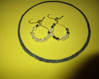 Clear Crystal and Silver Bead Hoop Earrings