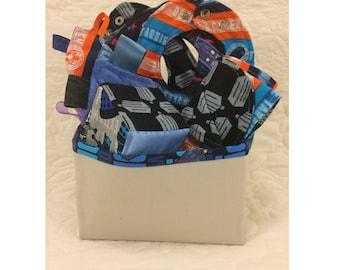 Doctor Who Baby Gift Set Basket in Dalek, Cybermen, Tardis Stripes - 3 Bibs, Ribbon Crinkle Toy, Block, Blanket, and Fabric Basket