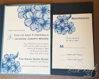 Blue Flowers Side Pocket Wedding Invitation Suite