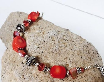 Red Coral and Bali Silver Bracelet