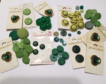 Vintage Lot Assorted Green Buttons in a variety of shades, shapes, and sizes