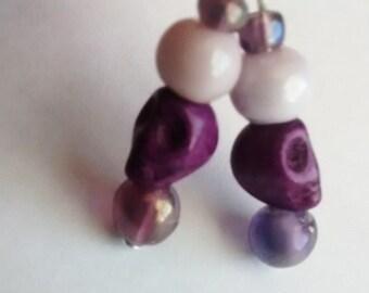 Purple Dangle Skull Earring