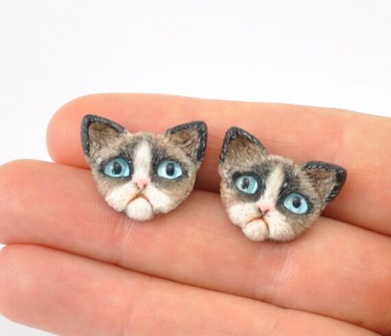 Grumpy Cat Earrings Sad Cat Dreary Cat Blue Cat Eyes