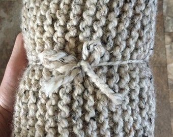 Knitted Wool Blend Scarf (Handmade)