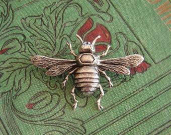 Bee or Queen Bee Brooch, Antiqued Silver brooch or Pin