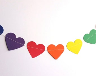 Rainbow heart garland/bunting/banner/birthday party