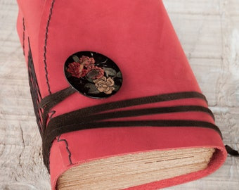 Red Leather Journal, Handbound Journal, Leather Diary, Notebook