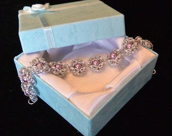 Silver Byzantine and Pink Bead Bracelet