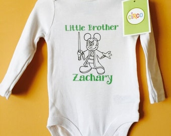 Little Brother Jedi Mouse Onesie, customized with Name