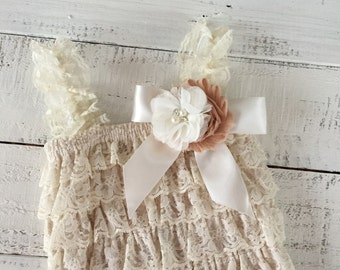 Lace Petti Romper, Champagne Cream Ivory Light Brown, matching flower headband rhinestone pearl, newborn infant toddler baby girl Fall set