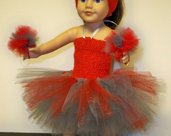 """American Girl Cheerleader tutu - Ohio State - made to fit most 18"""" dolls"""