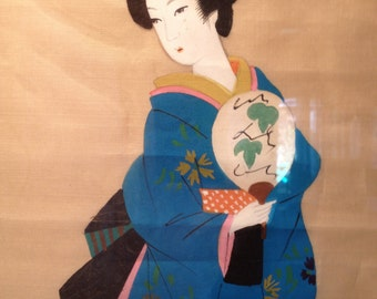 Pair of Geisha silk paintings