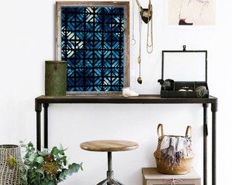 Dark Blue Indigo Moroccan Art Print