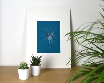 Dandelion Embroidery.  Artwork.  Home Decor. Textile Wall Art.