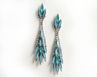 Aqua moonstone navette pierced earrings made by De Luxe Accessories