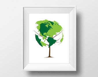 SALE -  Earth Tree, Nature Tree Poster, World Globe Poster, Green Wall Decoration, Eco Friendly, Earth Day, Children School Poster
