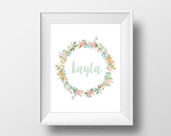 Baby Girl Name Floral Wreath, Custom Name, Custom Print, Custom Nursery Print, Baby Girl Print, Digital Print, Floral Wreath, Art Print