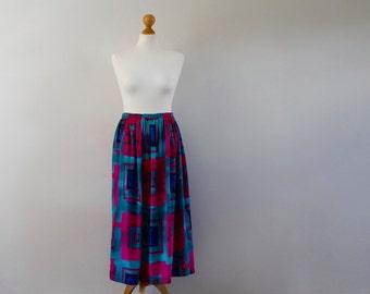 Vintage 1980s Midi Skirt | High Waisted Skirt | Graphic Print Skirt