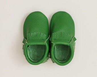 Moccasins Baby green mocs, genuine leather