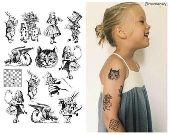 """Tattoo set """"Alice in Wonderland"""" based on John Tenniel illustrations for Lewis Carroll novell. Cheshire cat, Hatter, White rabbit. TA029."""