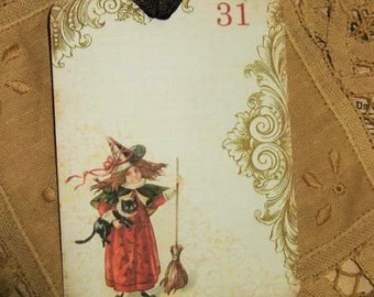 FOUR Vintage Halloween Witch and Black Cat Hang Tags / Gift Tags