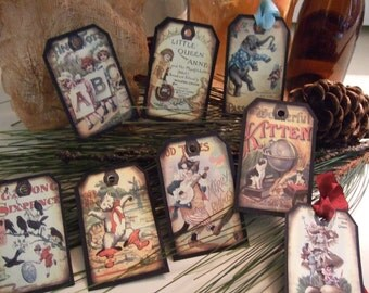 Set of EIGHT Vintage Victorian Storybook Toys Hang / Gift Tags