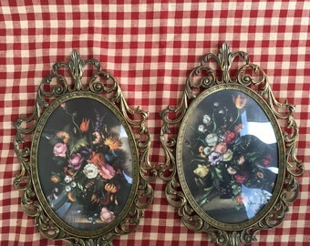 Vintage Flowers in Brass Frame