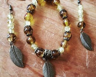 Beaded Bracelet and Earrings Set