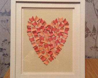 Beautiful heart picture, made from hand cut butterflies and little hearts.