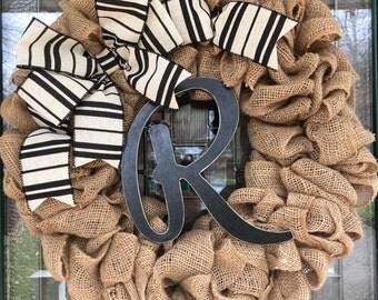 "Monogrammed Letter ""R"" Burlap Wreath"